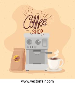 poster of coffee shop with coffee maker, bag and cup