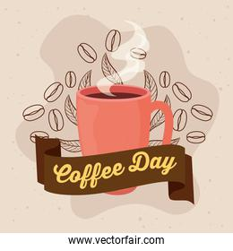 international coffee day poster, 1 october, with mug ceramic