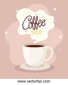 poster of coffee shop with cup ceramic