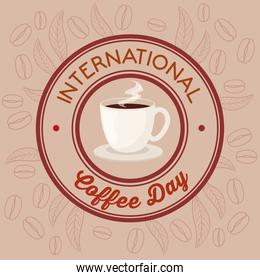 international coffee day poster, 1 october, on round frame
