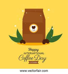 international coffee day poster, 1 october, with bag paper of coffee