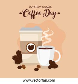 international coffee day poster, 1 october, with ceramic cup, disposable and grains