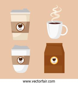 coffee beverage with set icons