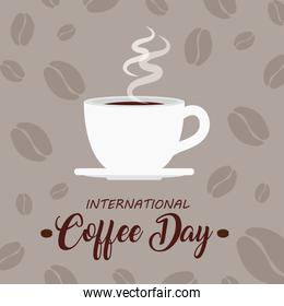 international coffee day poster, 1 october, with ceramic cup coffee