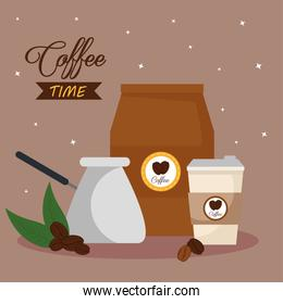 coffee time banner with icons decoration