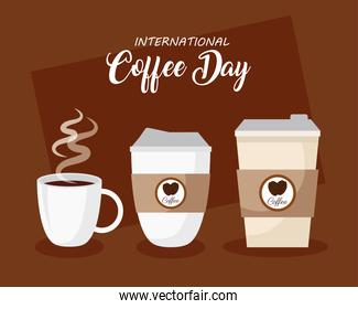 international coffee day poster, 1 october, with disposables and cup ceramic