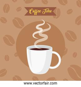 coffee time banner with cup ceramic