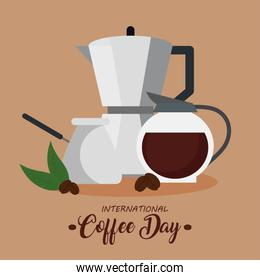 international coffee day poster, 1 october, with icons decoration