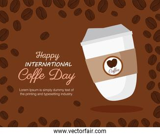 international coffee day poster, 1 october, with disposable and decoration of grains