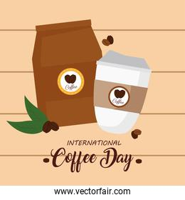 international coffee day poster, 1 october, with disposable and bag paper