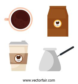 coffee drink with set icons