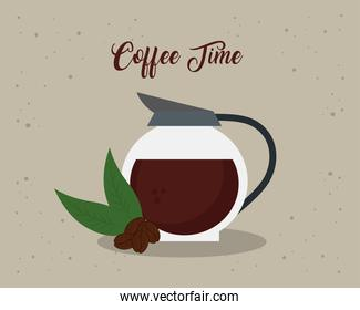 coffee time banner with glass teapot