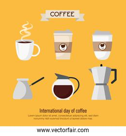 coffee drink with set icons on yellow background