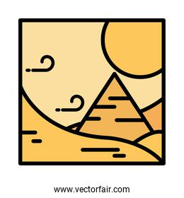 landscape desert pyramid wind sun sand cartoon line and fill style