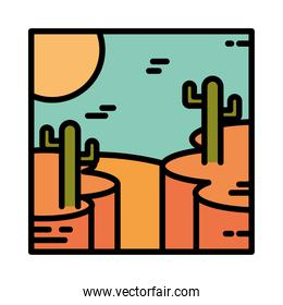landscape desert with rocky canyon cactus sun cartoon line and fill style