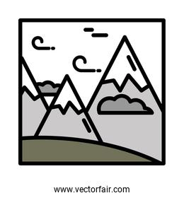 landscape mountains peak wind clouds sky cartoon line and fill style