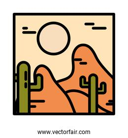 landscape arid desert cactus sun wild line and fill style
