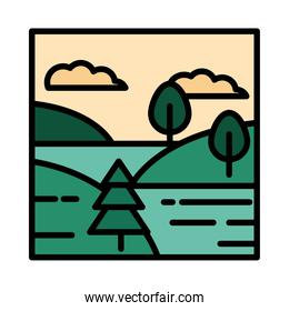 landscape lake hills trees sky clouds cartoon line and fill style