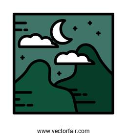 landscape mountains nature night moon clouds sky cartoon line and fill style