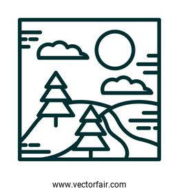 landscape river tree pines hills sun clouds cartoon line icon style
