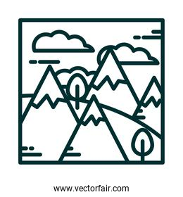 landscape mountains alps snow trees grass clouds sky cartoon line icon style