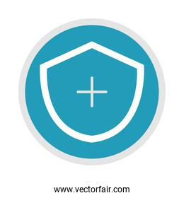 medical shield protection symbol, blue silhouette icon