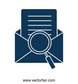 lupe with envelope silhouette style icon vector illustration