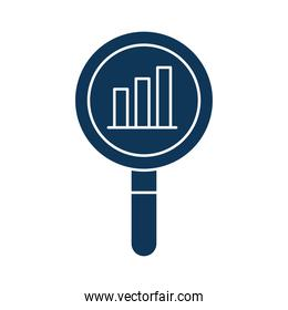 bars chart in lupe silhouette style icon vector design