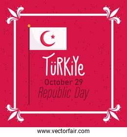 turkey republic day, flag in pole message red background