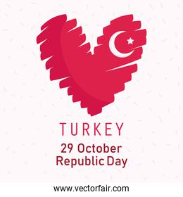 turkey republic day, flag shaped heart drawing style card