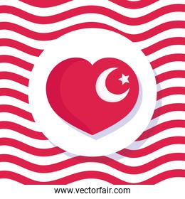 turkey republic day, flag national shaped heart on waving lines background
