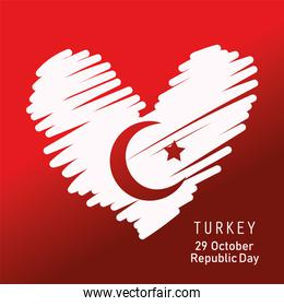turkey republic day, flag heart in brush strokes red background