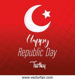 turkey republic day, flag lettering on red grid background