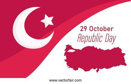 turkey republic day, national flag and map banner