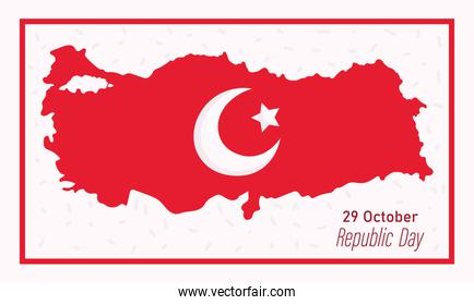 turkey republic day, moon and star on map country banner