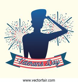 happy veterans day, silhouette soldier fireworks celebration card
