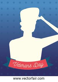 happy veterans day, silhouette soldier on dotted blue background