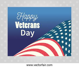 happy veterans day, american flag banner on gray dots background