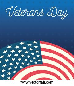 happy veterans day, gradient blue background american flag