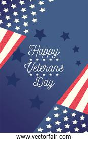 happy veterans day, flags in corners blue stars background letters