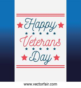 happy veterans day, lettering greeting card blue background