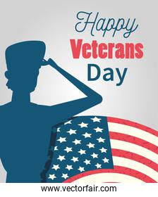 happy veterans day, soldier saluting american flag card