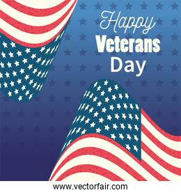 happy veterans day, waving United States flags on star blue background