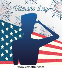 happy veterans day, soldier saluting fireworks and USA flag greeting card