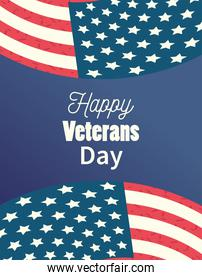 happy veterans day, waving flags lettering celebration patriotism card