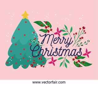 merry christmas, tree with flower star balls decoration celebration card for greeting