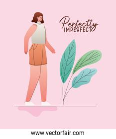 perfectly imperfect woman with leaves vector design