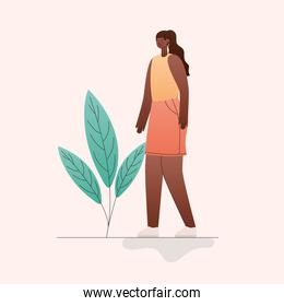 black woman cartoon with leaves vector design