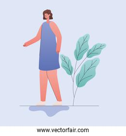woman cartoon with leaves vector design