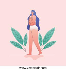 plus size woman cartoon in underwear with leaves vector design